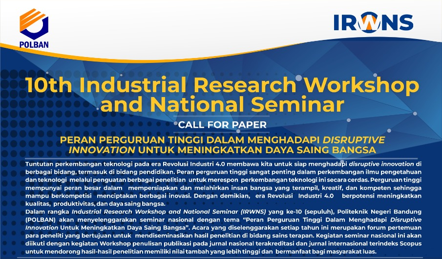 POLBAN : 10th Industrial Research Workshop and National Seminar (IRWNS) 2019