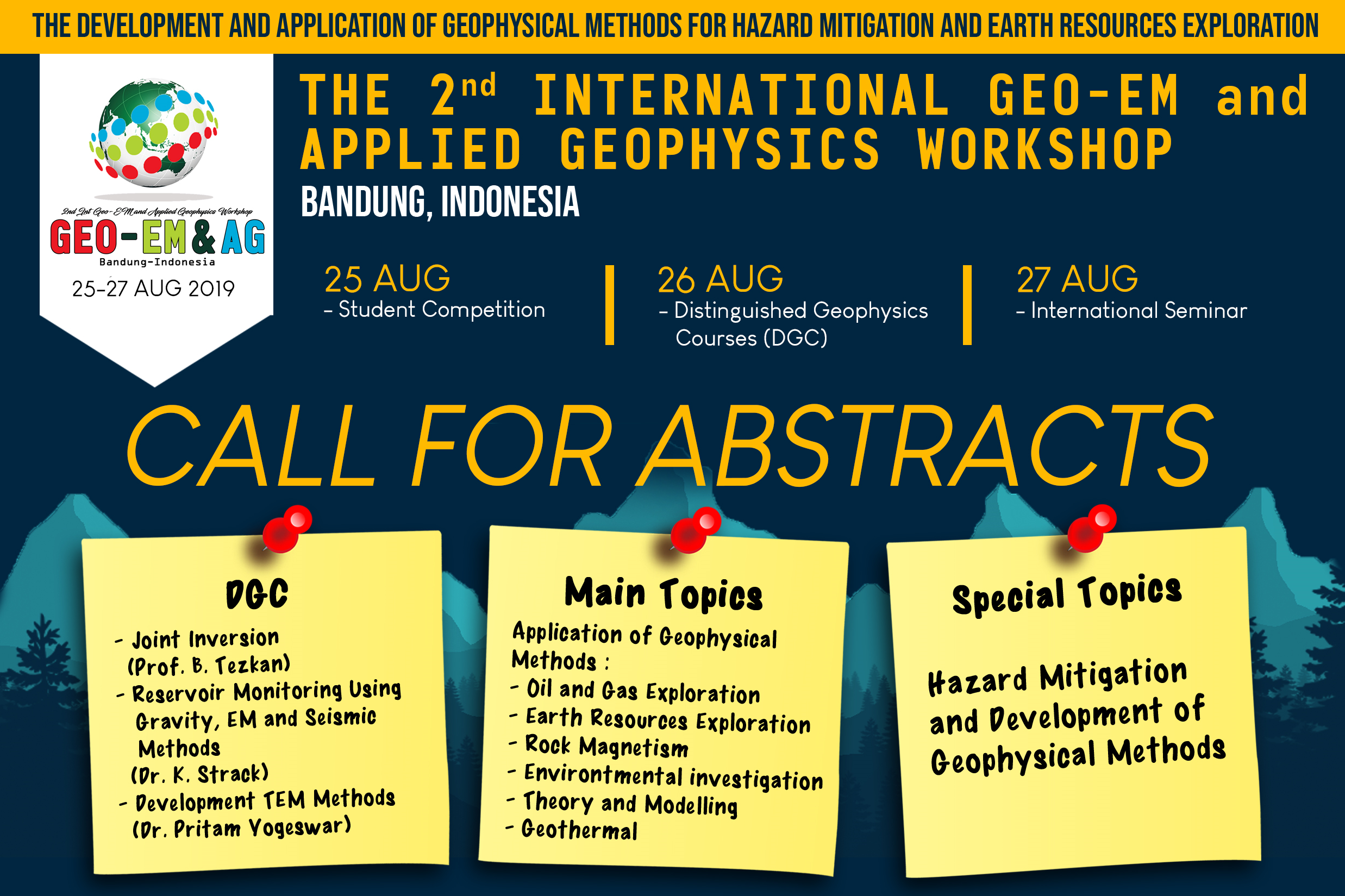 GEO-EM & AG: Call for Abstract Geo-Electromagnetic & Applied Geophysics Workshop 2019
