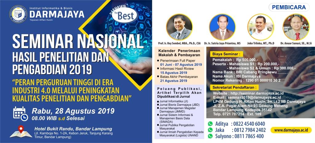Institut Informatika & Bisnis Darmajaya – Seminar Nasional Hasil Penelitian dan Pengabdian 2019
