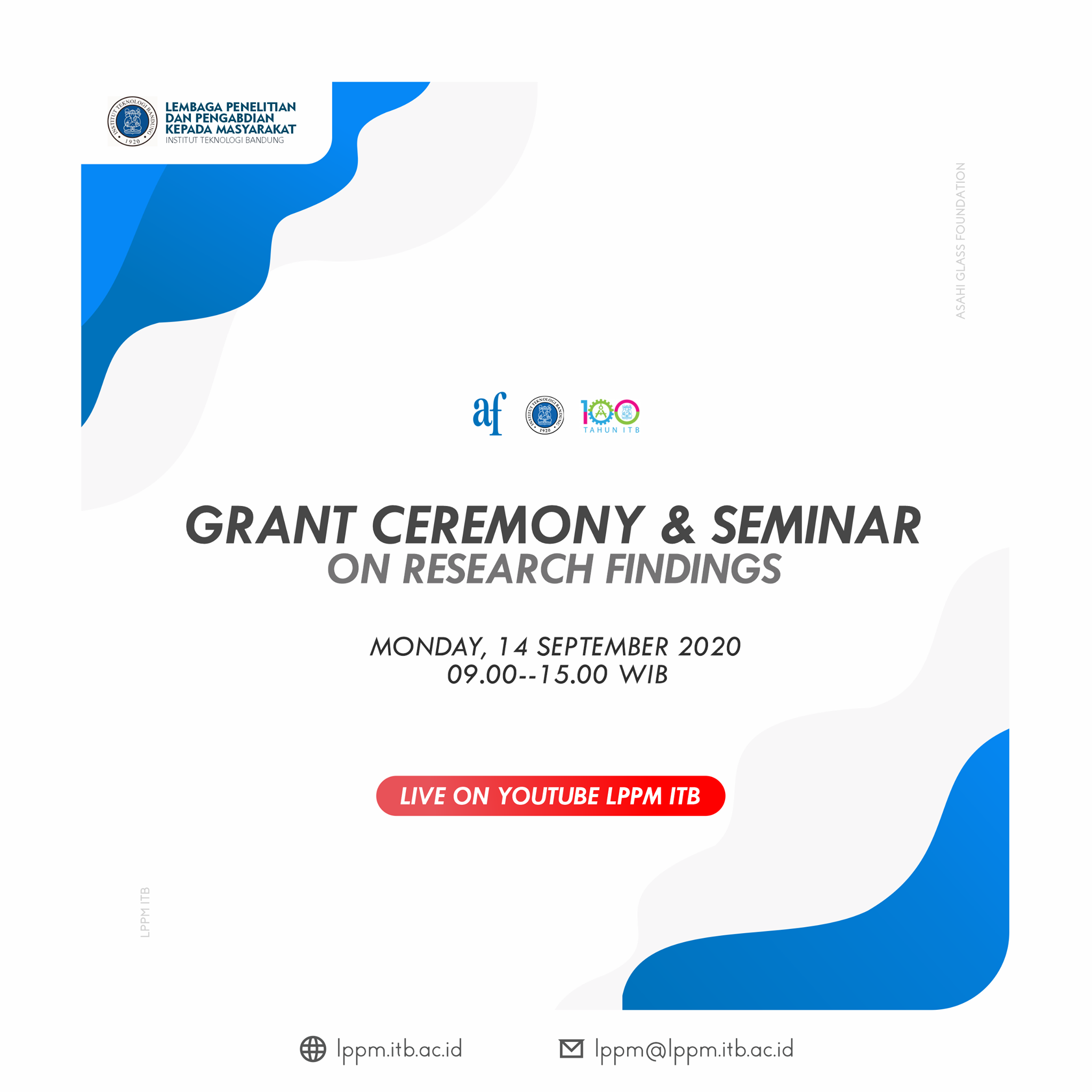 [WEBINAR] Grant Ceremony dan Seminar On Research Findings (LPPM ITB dan Asahi Glass Fundation)