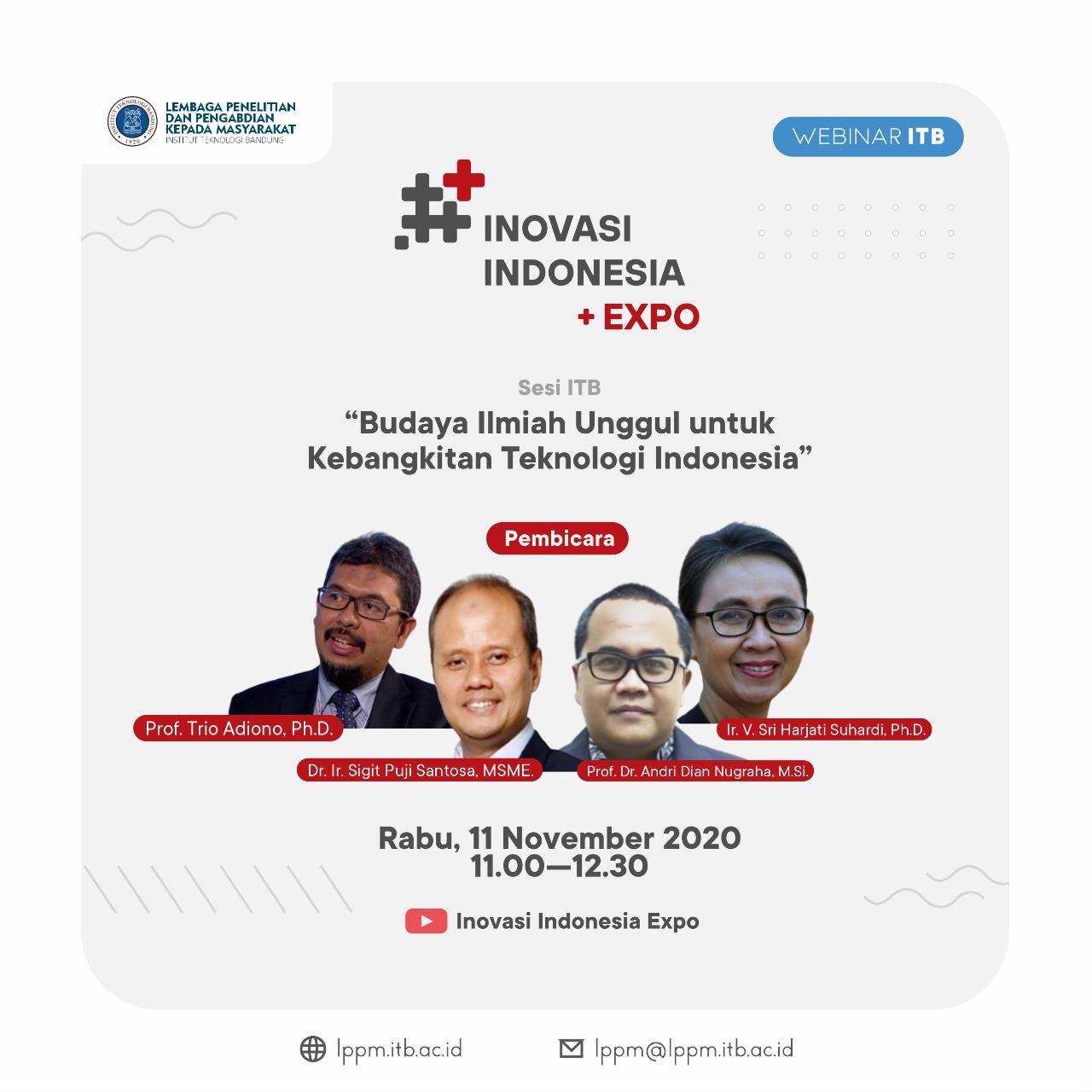 """[WEBINAR ITB] Ritech Expo 2020 Seri Webinar ITB """"Budaya Ilmiah Unggul Untuk Kebangkitan Teknologi Indonesia"""""""